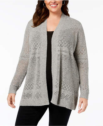Belldini Belle by Plus Size Pointelle-Stitch Cardigan