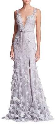 Marchesa Tied Petal Plunge Gown