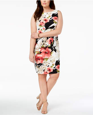 Connected Plus Size Printed Sheath Dress