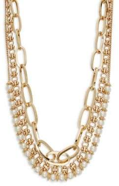 Design Lab 3-Row Goldtone and Faux Pearl Statement Necklace