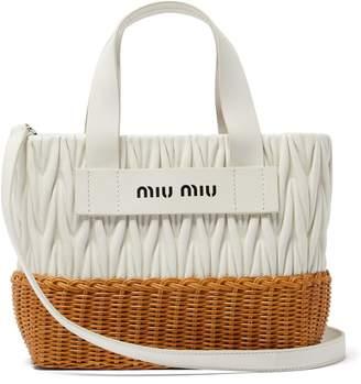 Miu Miu Matelassé-quilted leather and wicker tote bag