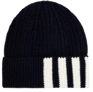 Thom Browne - Striped Ribbed Knit Cashmere Beanie - Mens - Navy