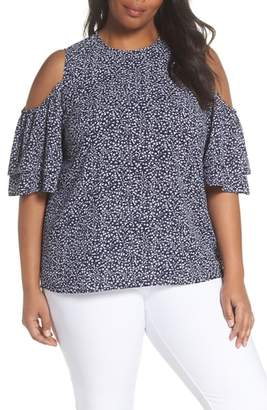 MICHAEL Michael Kors Paisley Fleur Cold Shoulder Top