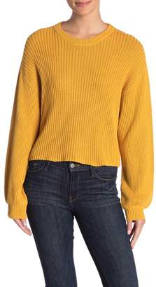 Abound Blouson Sleeve Rib Knit Crew Neck Pullover
