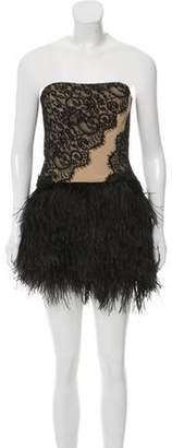 Haute Hippie Ostrich Feather-Accented Structured Dress