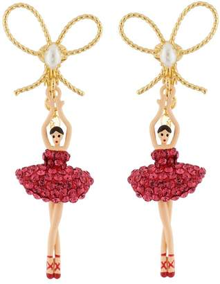 Les Nereides Luxury Pas de Deux Ballerina with Indian Pink Crystals and Knot Clip Earrings - Fuchsia - CLIP