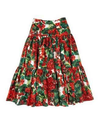 Dolce & Gabbana Girl's Geranium Print Tiered Poplin Skirt, Size 8-12