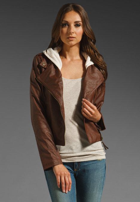 BB Dakota Fernando Faux Leather Jacket w. Fleece Hood