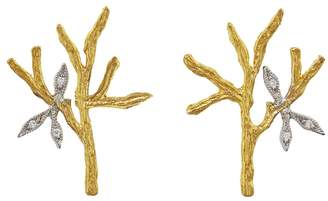 Cathy Waterman Tree Branch & Leaves Stud Earrings