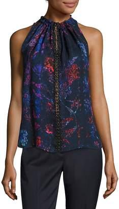 Elie Tahari Women's Bessie Silk Blouse - Dark Violet, Size x-large
