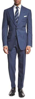 Tom Ford Windsor Base Double-Windowpane Two-Piece Suit, Bright Blue