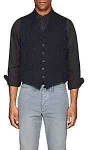 Rrl Men's Pinstripe Cotton Vest-Blue Size 44 R