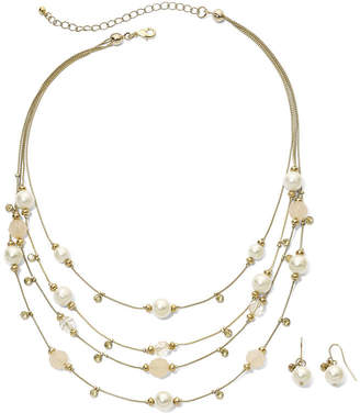 MIXIT Faux Pearl & Bead Necklace & Earring Set