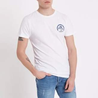 Bellfield Mens White crew neck T-shirt