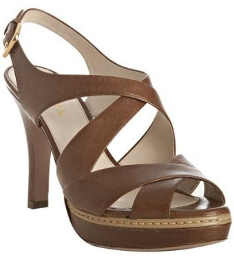 Prada cognac leather peep toe platform sandals