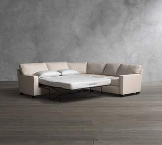 Pottery Barn Buchanan Square Arm 3-Piece L-Shaped Upholstered Sleeper Sectional with Memory Foam Mattress