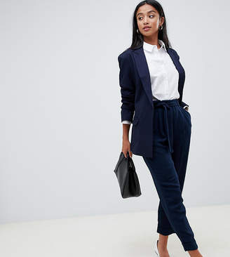 Asos DESIGN Petite woven peg pants with obi tie