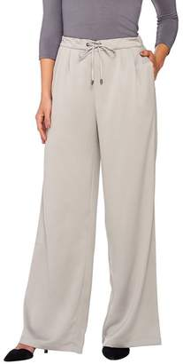 Halston H By H by Regular Stretch Charmeuse Wide Leg Pants
