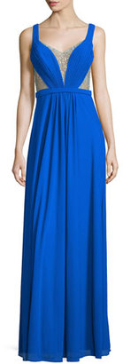 La Femme Sleeveless Illusion Beaded V-Neck Gown, Electric Blue $298 thestylecure.com