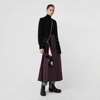 Burberry Tartan Wool Long Kilt , Size: 04, Blue