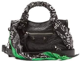 Balenciaga Classic City Nano Scarf Handle Leather Bag - Womens - Black Multi