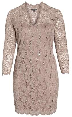 Marina Sequin Stretch Lace Sheath Dress