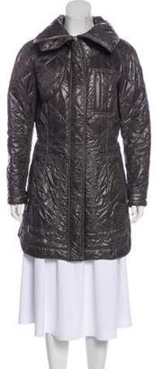 Tod's Leather-Trimmed Quilted Coat Grey Leather-Trimmed Quilted Coat