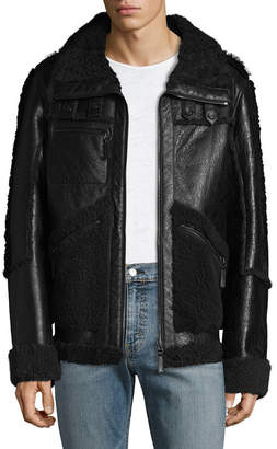 Yves Salomon Shearling Trimmed Leather Jacket