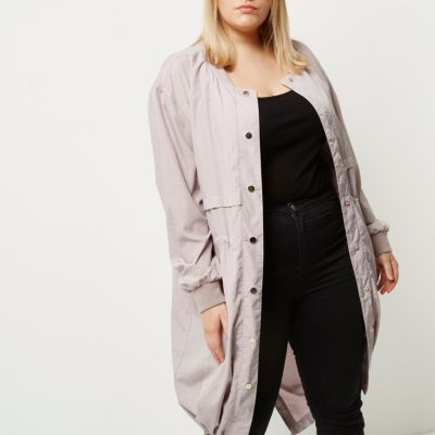 River Island River Island Womens Plus pink longline bomber coat