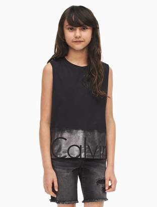 Calvin Klein girls shimmer logo tank top