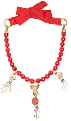Valentino Skull-pendant beaded necklace