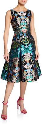 Mary Katrantzou Chandelier-Print Satin A-Line Dress
