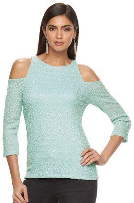 Women's Jennifer Lopez Boucle Cold-Shoulder Top $48 thestylecure.com