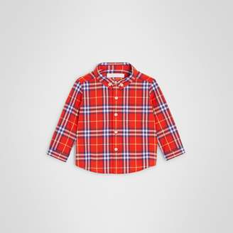 Burberry Button-down Collar Check Cotton Shirt