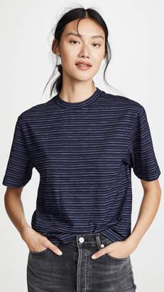 Vince Indigo Stripe Wide Sleeve Crop T-Shirt