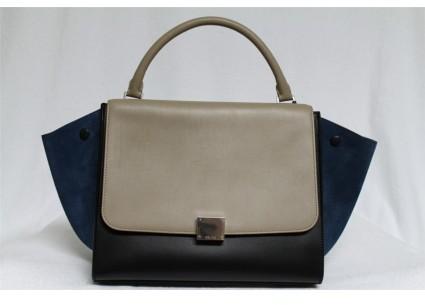 Celine pristine (PR Deepsea Smooth Leather & Suede Small Trapeze Bag