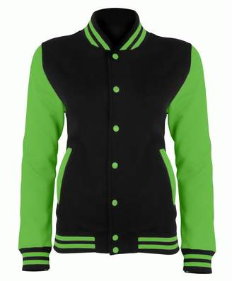 AWDis Just Hoods Womens/Ladies Electric Varsity Jacket (XS)