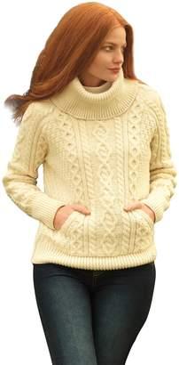 Carraigdonn Carraig Donn Ladies Roll Neck Wool Irish Pullover Sweater