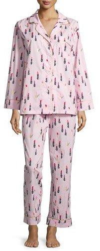 BedHeadBedhead Lipstick-Print Long-Sleeve Classic Pajama Set, Pink