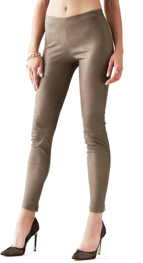 GUESS Elena Zip-Ankle Leather Leggings