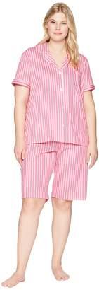 Lauren Ralph Lauren Plus Size Short Sleeve Notch Collar Bermuda PJ Set Women's Pajama Sets