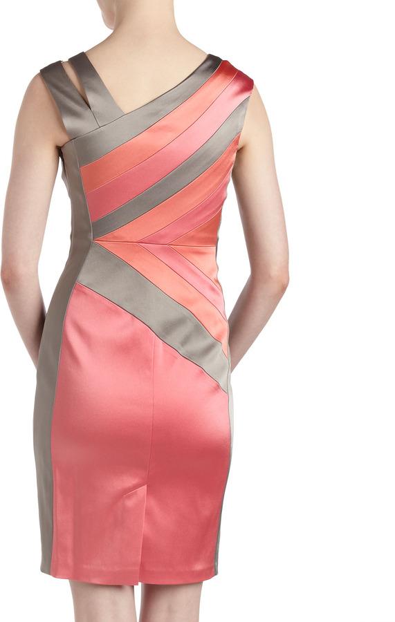 Jax Satin Split-Shoulder Bandage Dress