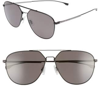 BOSS 63mm Polarized Aviator Sunglasses