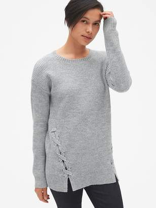 Gap Shaker Stitch Lace-Up Pullover Sweater Tunic