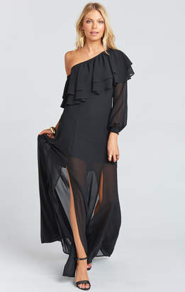 Show Me Your Mumu Emma Ruffle Maxi Dress ~ Black Chiffon