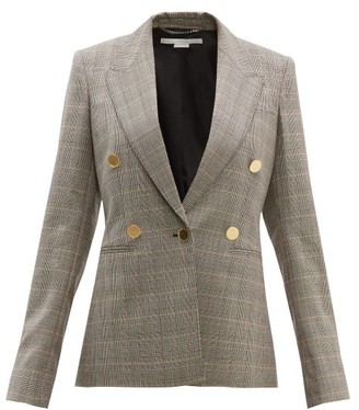 Stella McCartney Prince Of Wales Check Single Breasted Wool Jacket - Womens - Black Multi