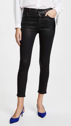 A Gold E AGOLDE Sophie Hi Rise Skinny Crop Coated Jeans