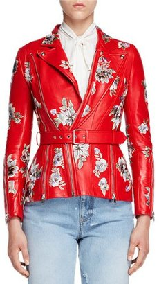 Alexander McQueen Floral-Embroidered Leather Jacket, Red $7,595 thestylecure.com