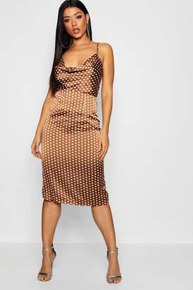 boohoo Satin Polka Dot Cowl Neck Midi Dress