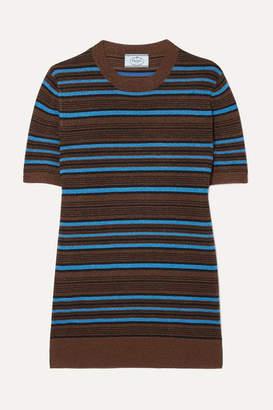 Prada Striped Metallic Wool-blend Sweater - Blue